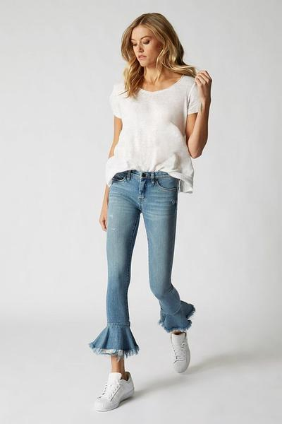 Cropped-Ruffle Jeans