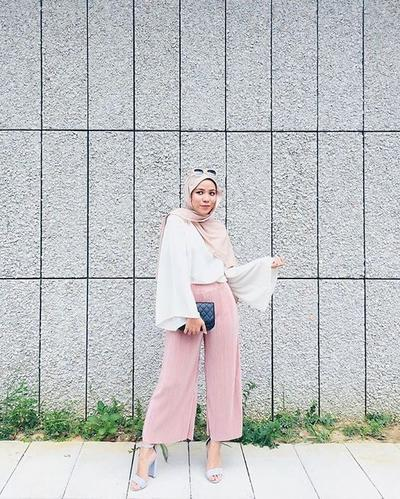 Celana Kulot + Wide Sleeve Blouse