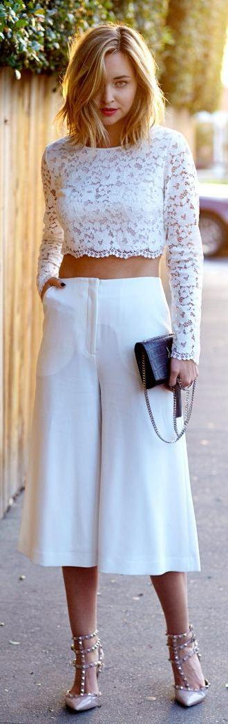 Celana Kulot + Lace Crop Top