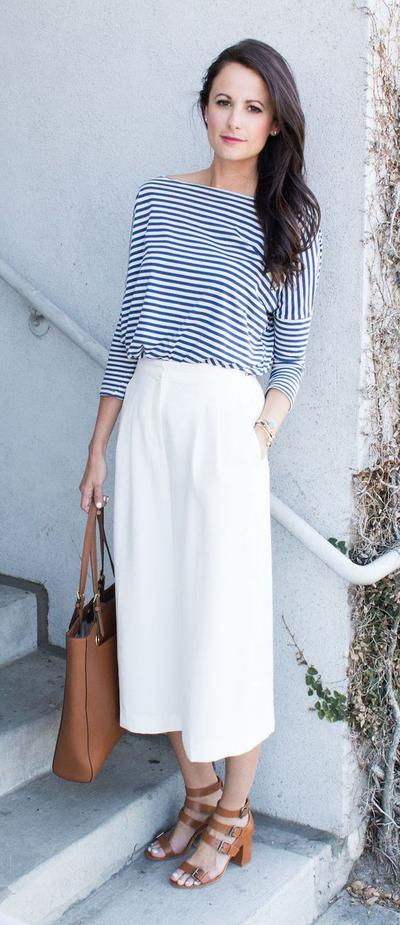 Celana Kulot + Striped Shirt