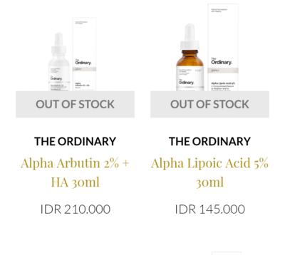 Dimana beli The Ordinary yang Alpha Lipoic Acid nya in stock?