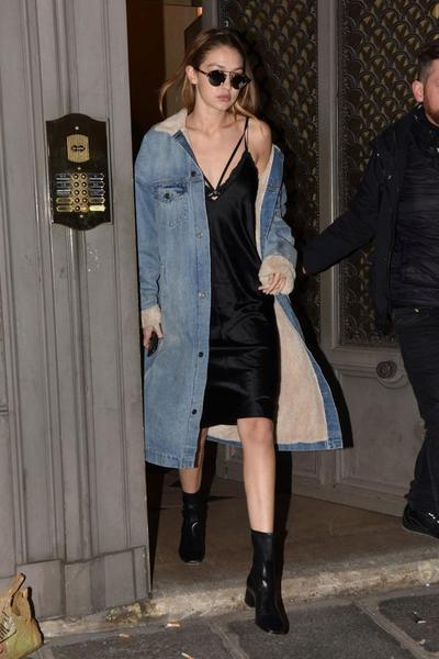 Gigi Hadid: Slip Dress, Denim Jacket & Ankle Boots