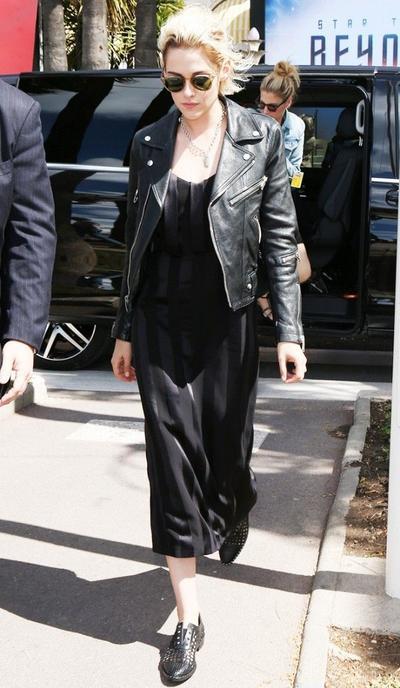 Kristen Stewart: Slip Dress & Leather Jacket