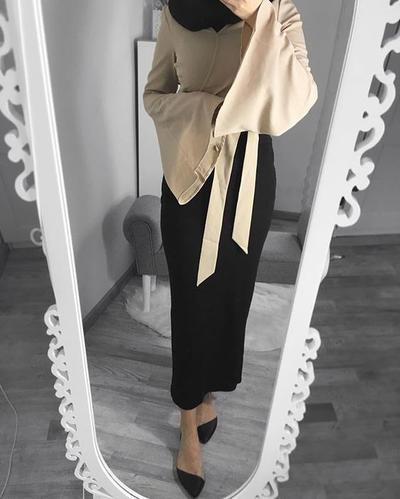 Inspirasi Padu Padan Bell Sleeve Hijab Dan Rok