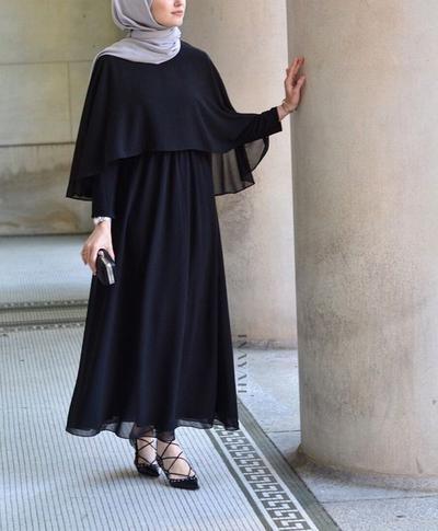 Sifon Cape Dress Basic
