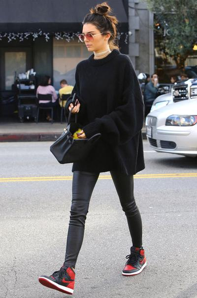 Sweater & Leather Pants