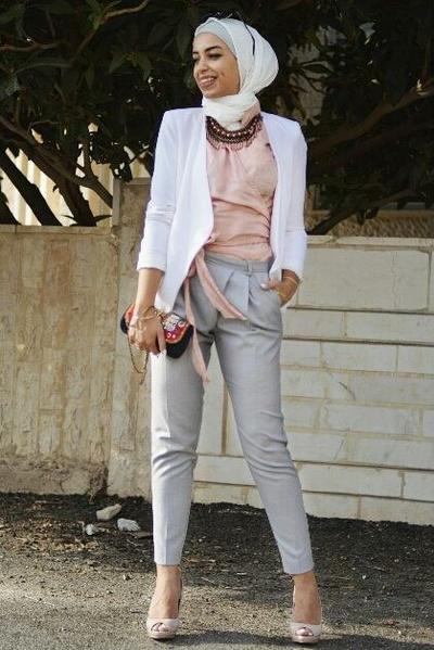 White Blazer + Pastel Outfit