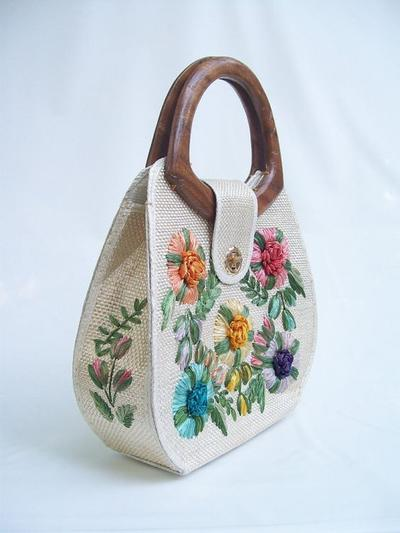 Embroidery Basket Bag