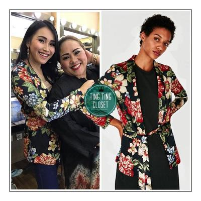 Wearing Zara Floral Print Blazer