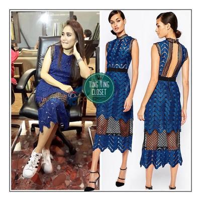 Wearing Self Potrait Blue Scalloped Mix Lace Midi Dress