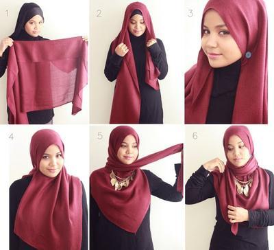 Hijab Syar'i dengan Aksesoris Kalung Etnik