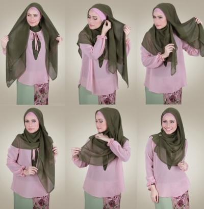 Gunakan Hijab Segi empat untuk Tampilan Simpel