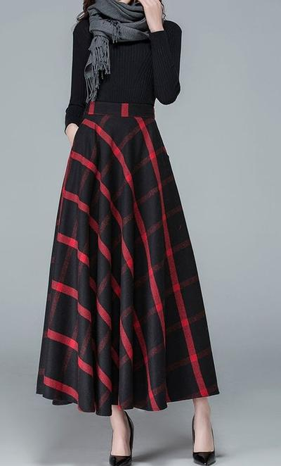 A-Line Skirt with Plaid Pattern