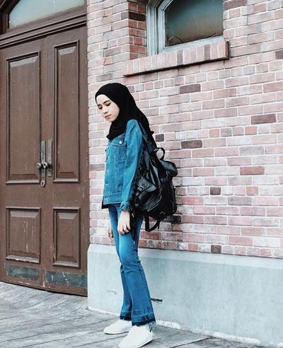 @ameliaelle: Celana Cutbray dengan Jaket Denim