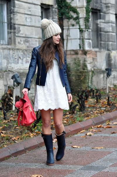 Dress, Leather Jacket & Boots