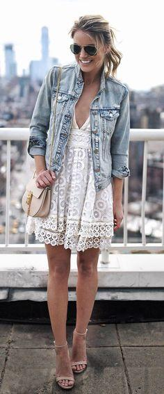 Denim Jacket with Dress for Formal Occasion