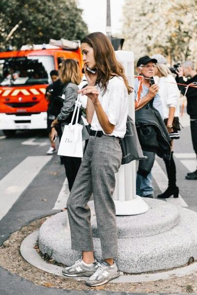 Semi-Formal Look with Sporty Shoes