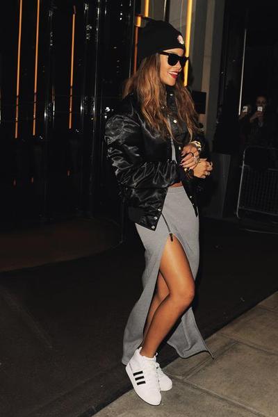 Maxi Skirt & Leather Jacket