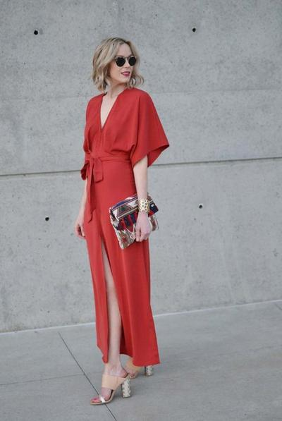 1. Slit Kimono Red Dress