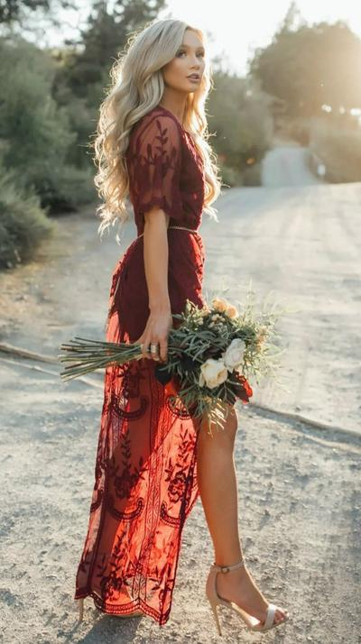 5. Lace Red Dress