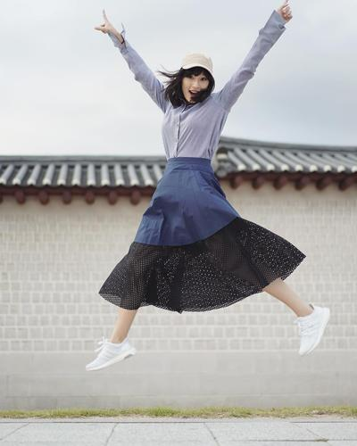 4. Skirt with Sneakers