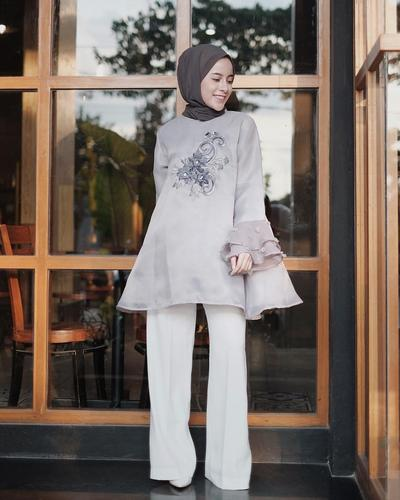 Embroided Flare Organza Blouse