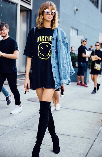 Oversized T-Shirt & Knee High Boots
