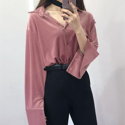 Kemeja Velvet dengan Celana Bahan