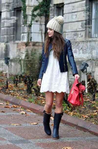 Boots, Leather Jacket & Simple Dress