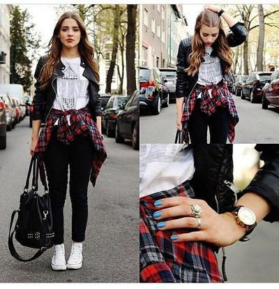 Leather Jacket & Flanel