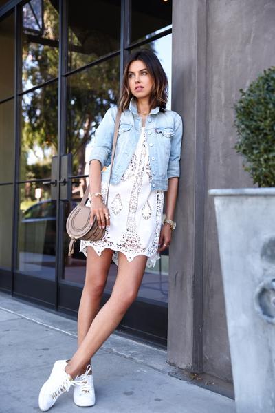 Lace Dress & Denim Jacket
