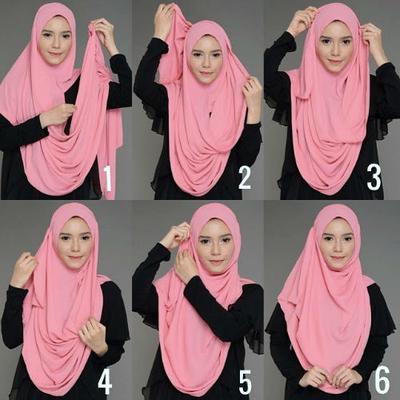 Menggunakan Hijab Bergo Setengah Jadi