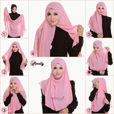 Menggunakan Hijab Bahan Sifon
