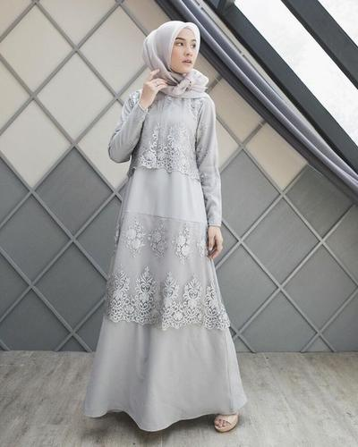 Grey Dress with Lace Detail