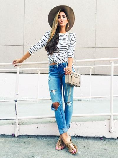 Stripes & Ripped Jeans