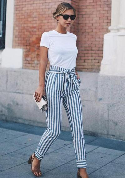 Stripes High Waist Pants