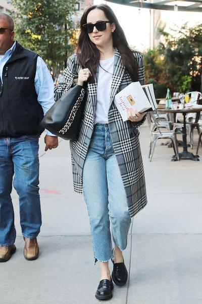 Long Checked Blazer with Jeans