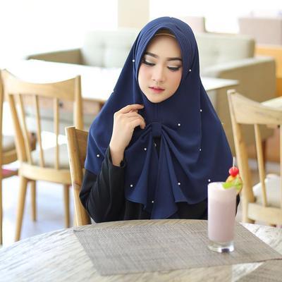Dark Blue Pearled Hijab