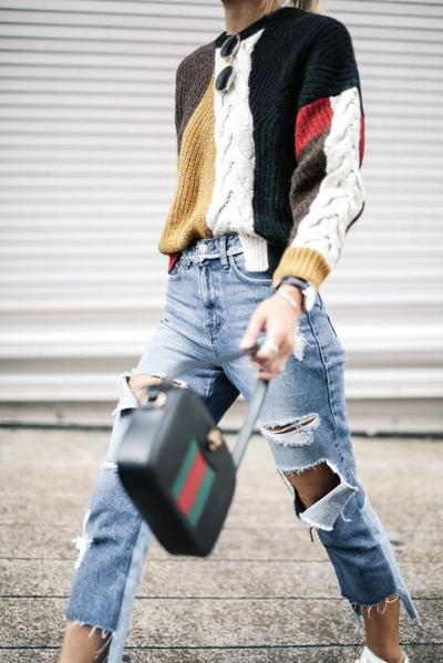 Three-Toned Sweater with Ripped Jeans