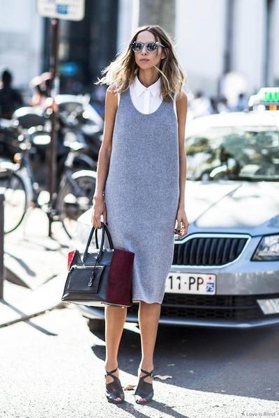 Sleeveless Midi Dress & White Button