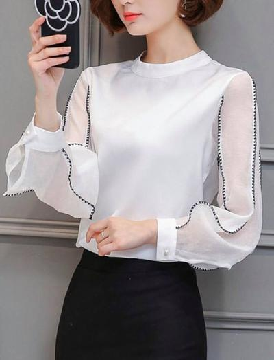 Contrast Stitching Tops