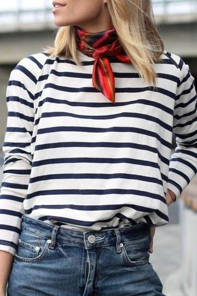 Neck Scarf and Stripes Shirt