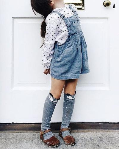 High Knees Socks with Overall Jumpsuit