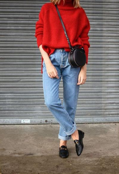 Bright Color Sweater with Jeans