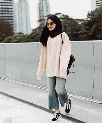 Culotte Style Jeans, Sweater, and Sneakers