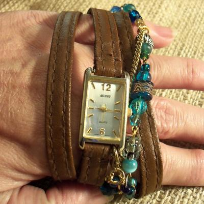 2. Brown Leather Wrap Watch