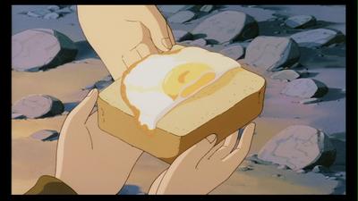 Menu sederhana Laputa: Roti dan Telur
