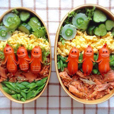 Sousejin, Menghias Makanan dengan Sosis Berwajah Manusia