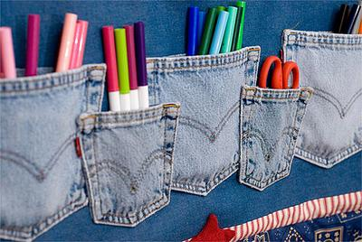 4. Denim Pocket Wall Organizer