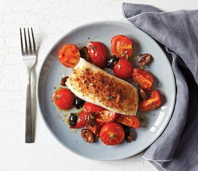 Halibut with Tomatoes and Olives